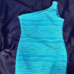 Dresses & Skirts - Sexy, curvy teal one shoulder dress. Stretchy